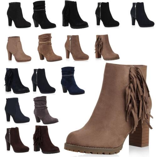Klassische Damen Stiefeletten High Heel Booties Fransen Schuhe Profil 77548 Top