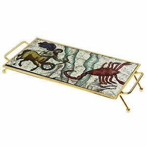 Astrology-Gold-Glass-Serving-Tray-With-Metal-Frame-For-Food-Snacks-Breakfast