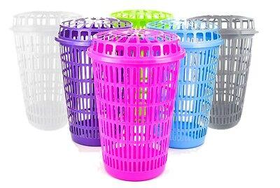 Circular Plastic Laundry Linen Basket Bin Storage Hamper with Lid