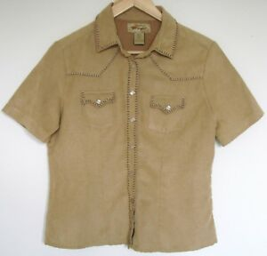 Wrangler-Short-Sleeve-Faux-Soft-Suede-Poly-Shirt-Size-S-P-Womens-Tan-Snap-Front
