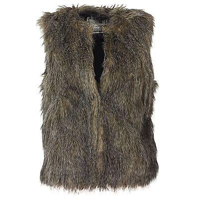 Sublevel Damen  Kunstfell Weste Kunstfellweste Haken-Verschluss Fake Fur