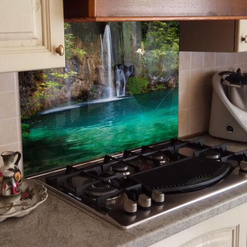 Kitchen Back Splash Guard Kitchen Toughened Glass Waterfall Water Green