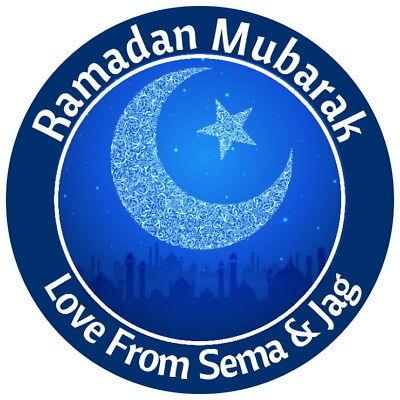 Personalised Ramadan Blu Navy Lucido Celebrazione Festa Adesivi Etichette-
