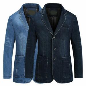 Men-039-s-Denim-Jeans-Jacket-Coat-Casual-Slim-Business-blazer-Outwear-Biker-Plus-4XL