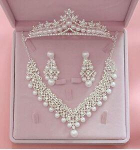 Wedding-Jewelry-Set-Pendants-Necklace-Earrings-Fashion-Crystal-Bridal-Rhinestone