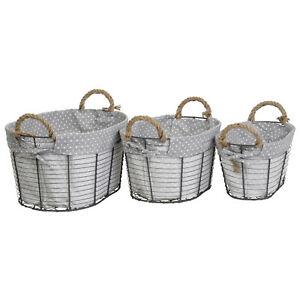 Multi-Purpose Nesting Wire Metal Basket with Liners and Rope Handles Set of 3