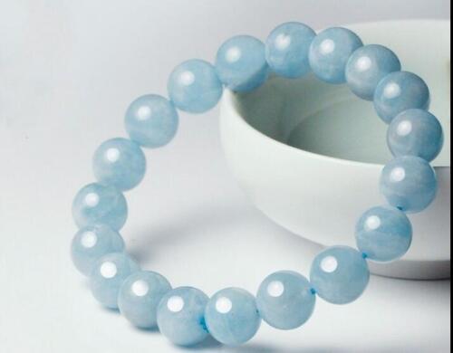 """NOUVEAU 10 Mm Naturel Bleu Aigue-marine ronde gemme Extensible Bracelet Jonc 7.5/"""""""