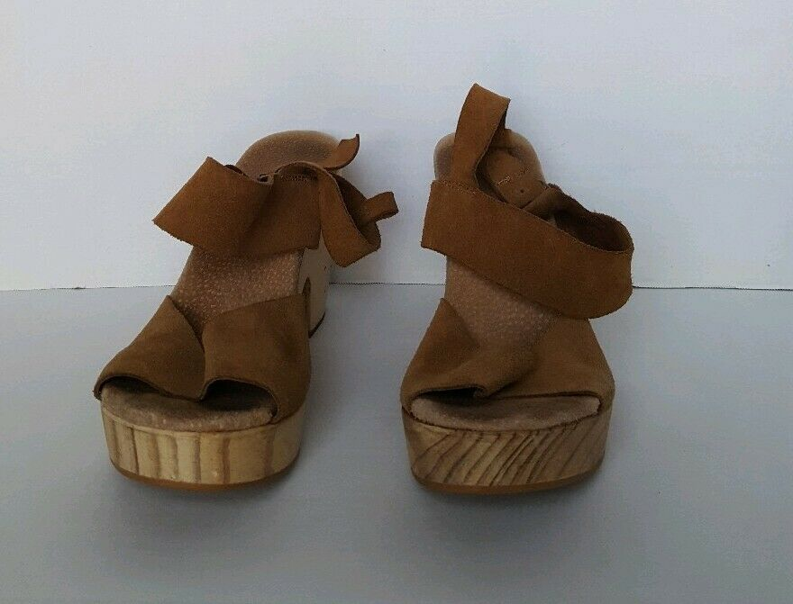 WOMEN'S SUEDE AND WOOD WEDGE SANDAL SHOES BROWN 39