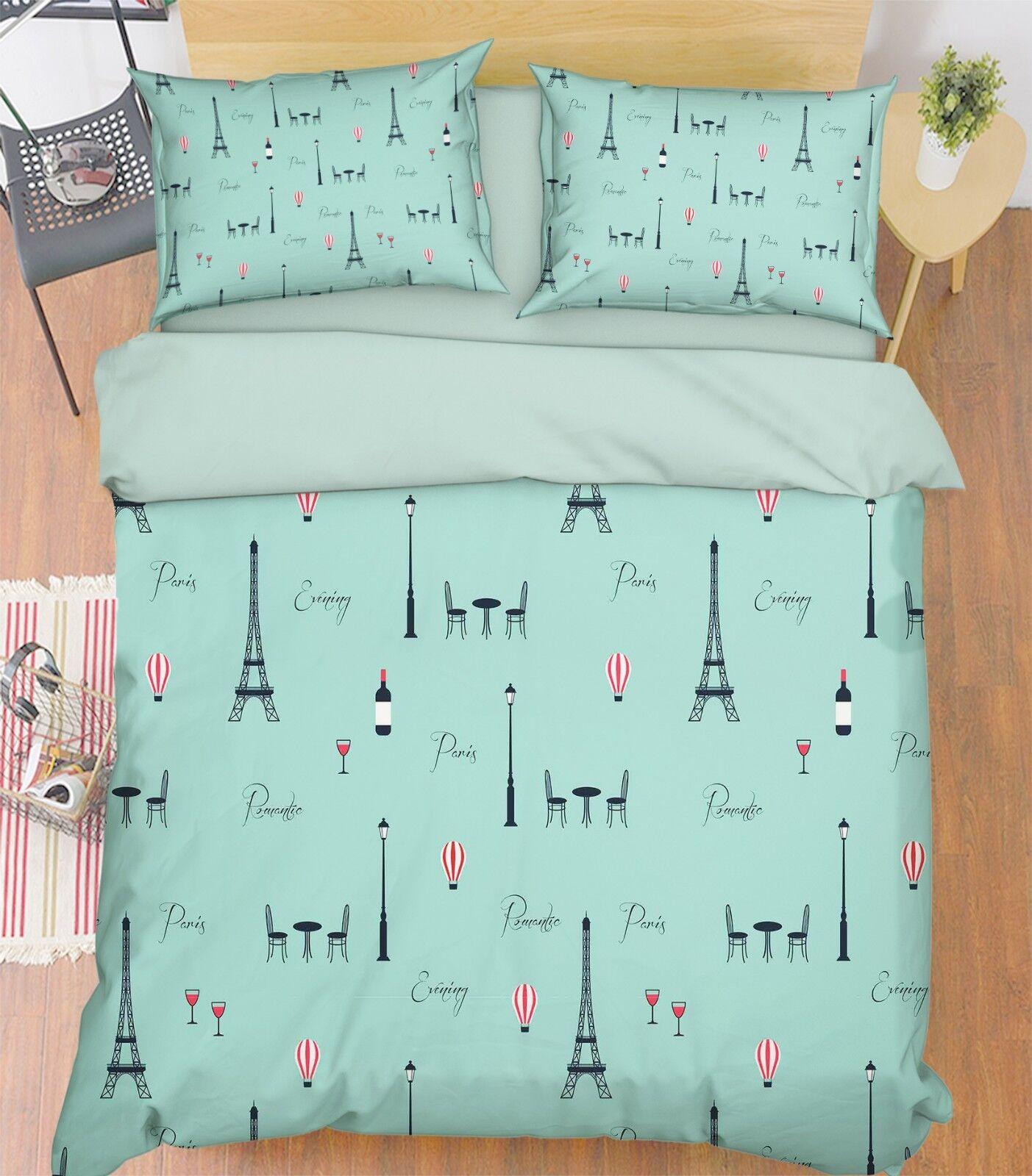 3D Cartoon Tower 683 Bed Pillowcases Quilt Duvet Cover Set Single King UK Summer
