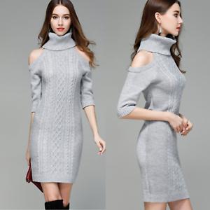 the latest 7f5e9 ed848 Dettagli su elegante abito Vestito invernale in maglia donna maxi maglione  collo alto