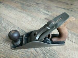 Antique-Bailey-Smooth-Bottom-Wood-Plane-No-4-Tool-Stanley-Sweetheart-Blade
