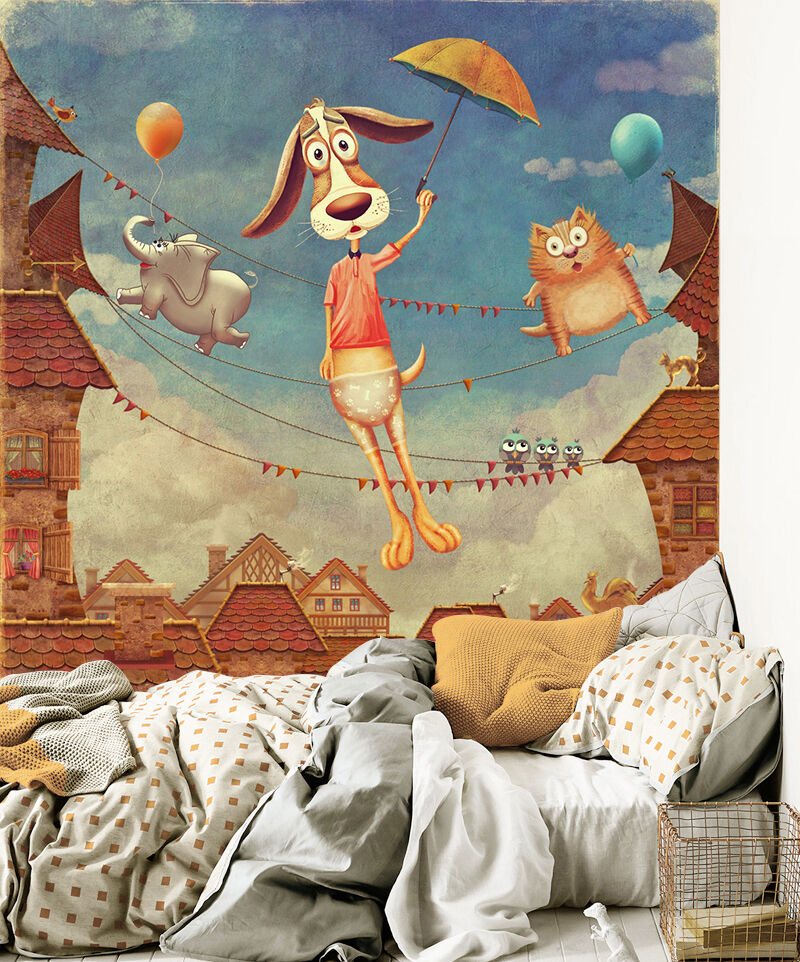 3D nursery Animation animal Wall Paper Print Decal Wall Deco Indoor wall Mural