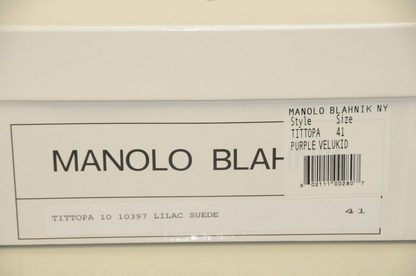 $1095 NEW Purple MANOLO BLAHNIK TITTOPA BB JEWELED Purple NEW Suede Flats Ballet SHOES 41 7aebb5
