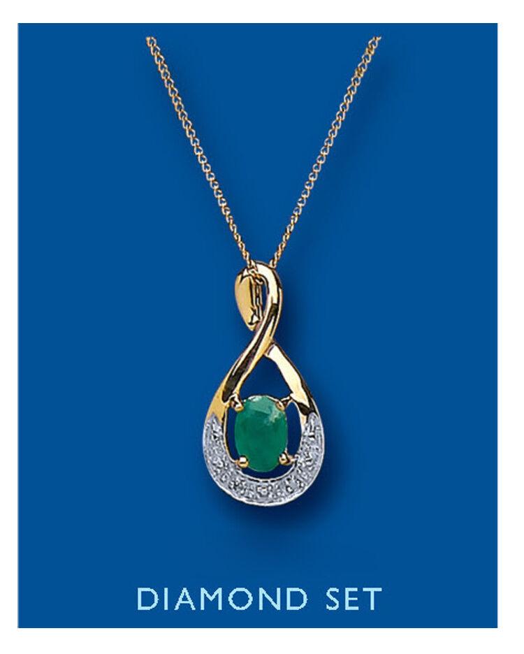 Smeraldo E E E Diamanti Ciondolo Catena In oro Giallo 18  8a28f5