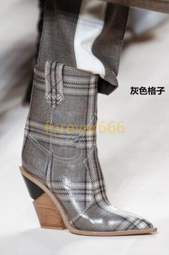 Damenschuhe keilabsatz High Heels Designer spitz zehe Biker Stiefeletten