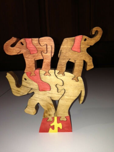 Wooden Circus Elephant Scroll Saw Puzzle Handmade 11 Pieces Stained