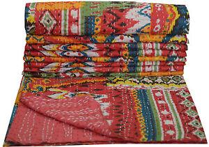 Red-Kantha-Quilt-Indian-Handmade-Bedspread-Throw-Cotton-Gudari-Ethnic-Blanket