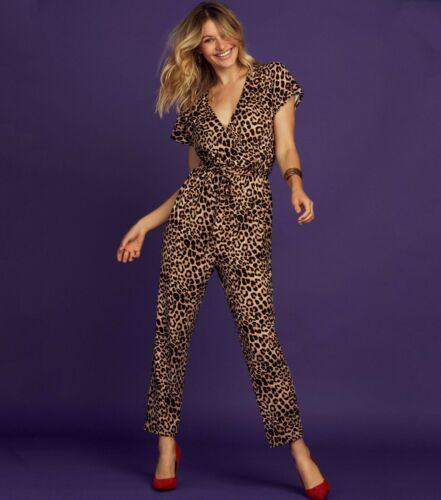 NEW Look leopardo Animal Print Tie Waist Wrap Top Tuta Festa Uk 6 8 10 12 14
