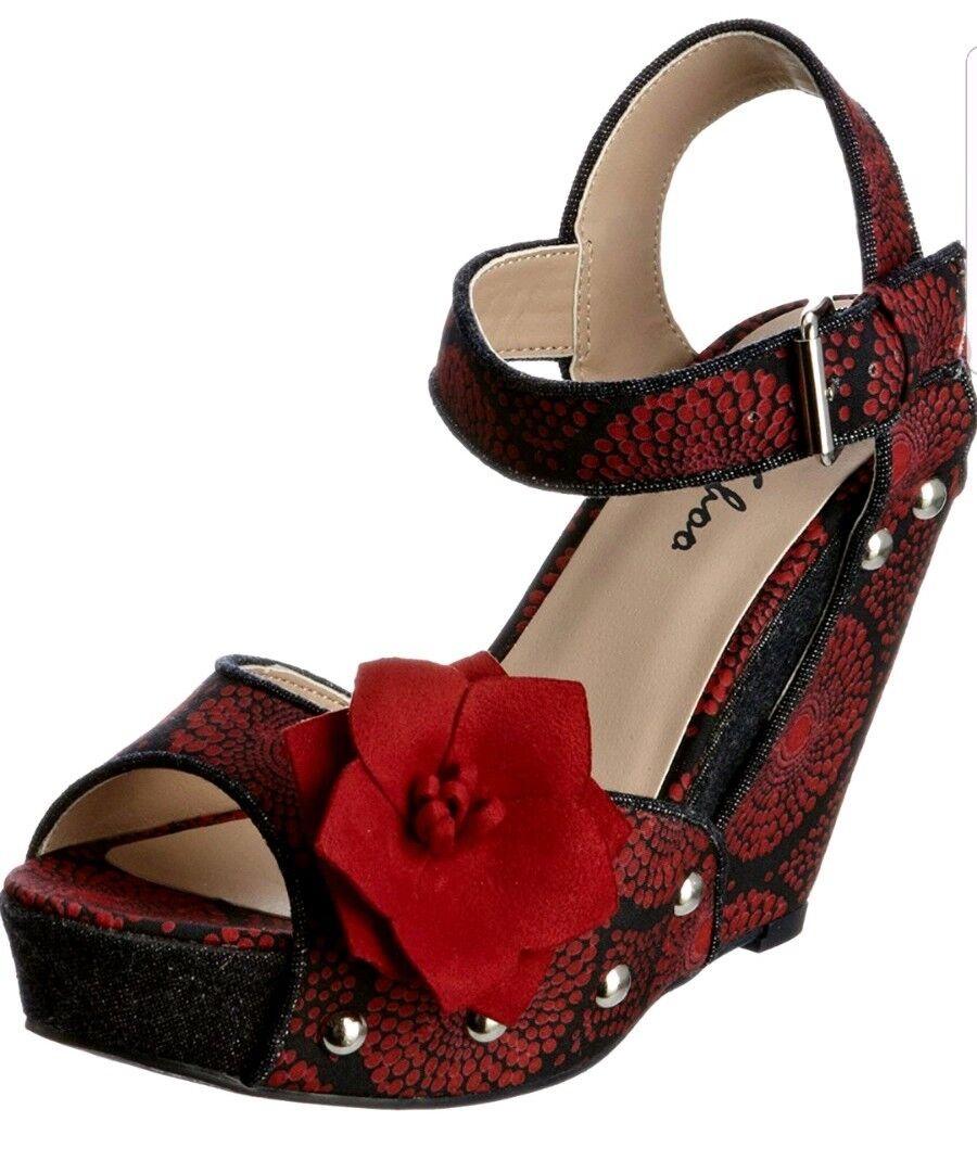 Ruby Shoo Ladies LOREN Red bluee Floral Wedge Heels shoes Sandal Size UK 3 EU 36