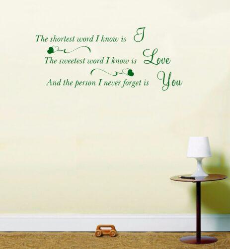 Te amo de arte de pared calcomanía Sweet cuidado amoroso inspiradores citar lswa7121