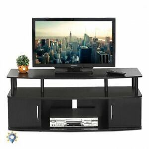 Details About Dark Modern Tv Stand Solid Wood Entertainment Center Home 50 Inch Large Screen