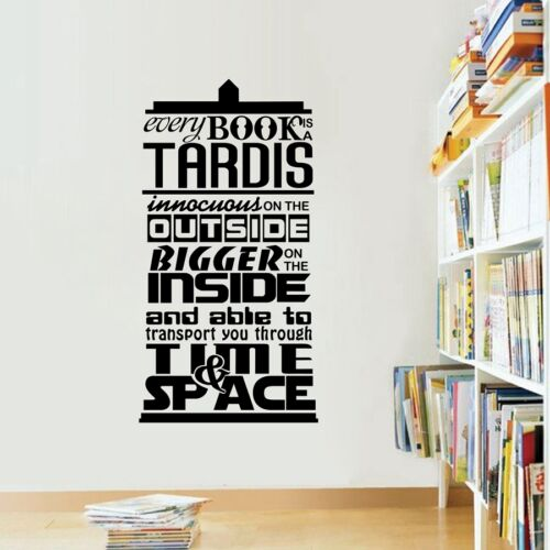 """/""""Every Book Is A Tardis/"""" Vinyl Quotes Decals Doctor Who inspired For Home Decor"""