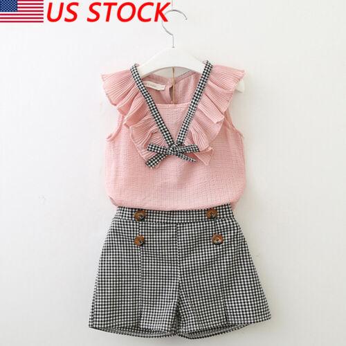 2PCS Toddler Kids Baby Girl Summer Clothes T-shirt Tops+Shorts Pants Outfits Set