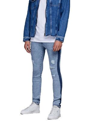 Jack Jones Liam Mens Stretch Designer Distressed Skinny Jeans Denim Pants 28-36