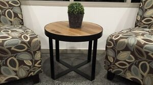 Coffee-Table-metal-base-and-spotted-gum-timber-round-top