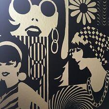 American NY GENUINE 1960's Flock Wallpaper. 60's Models Metallic. RARE!! Vintage