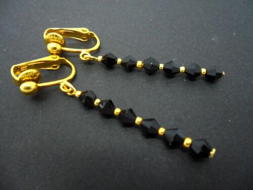 Un Par de Negro Cristal Plateado Oro Perla De Cristal Clip en PENDIENTES nuevo.