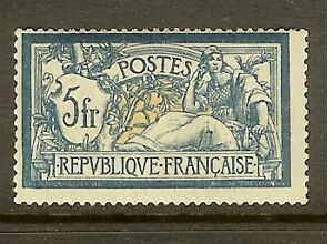 FRANCE-STAMP-TIMBRE-N-123-034-TYPE-MERSON-5F-BLEU-ET-CHAMOIS-034-NEUF-xx-TB