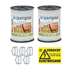 400m 20mm Weidezaunband Elektro Zaun Pferde Pony Schaf Rinder Ziegen Hunde