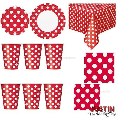 SPOTS Disposable Polka Dots Colour TABLEWARE Events BBQ Catering Birthday Party