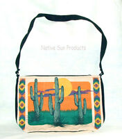 Purse Handbag Saguaro Cactus Design Cotton Canvas 13x19 Zips Close Southwest