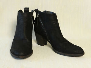 Dolce-Vita-Black-Suede-Leather-Ankle-Boots-Dual-Zips-Size-9-5