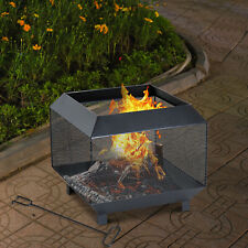 Outsunny Metal Firepit Patio Heater Brazier Garden Square Stove Log Wood Burner