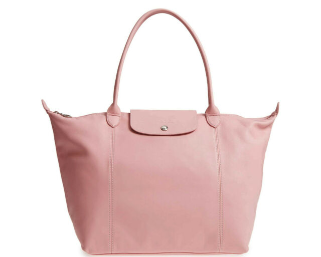 Longchamp Le Pliage Cuir Large Leather Shoulder Tote Pink Made in France