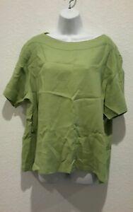 Flax-Avocado-Green-Blouse-Tunic-Shirt-Womens-Sz-L-100-linen-short-sleeve