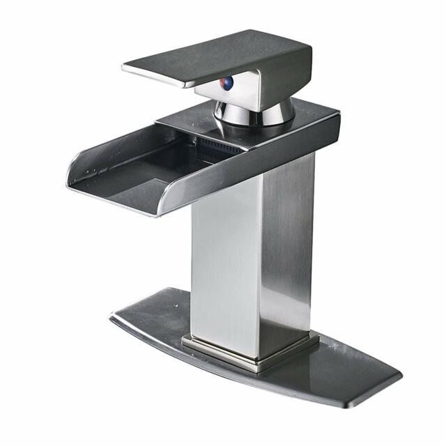 Brushed Nickel Bathroom Sink Faucet Vanity Basin Mixer Tap  Deack Mounted