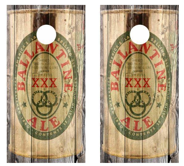 Vintage Ballantine XXX Ale  -  Beer Can Barnwood Cornhole Board Wraps