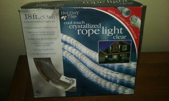 new green Holiday Time cool touch crystallized rope light 18ft