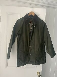 Barbour-Beaufort-Classic-Green-Waxed-Jacket-Size-C34-86cm-Great-Condition