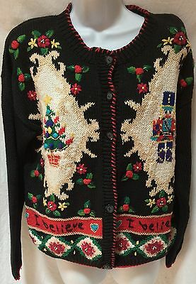 Ugly Christmas Sweater Cardigan Black I Believe Tree Toy Soldier Size M Ebay