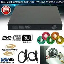 Esterno USB 2.0 LightScribe DVD CD RW Drive Bruciatore Scrittore Per Mac PC Windows UK