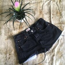 "VINTAGE LEVI BLACK DENIM SHORTS SIZE 12 14  W32"" HIGH WAIST CUT OFFS MOM #44"