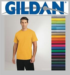 100 Gildan T-SHIRTS BLANK BULK LOTS Colors or 112 White Plain S-XL ...