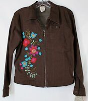 F.l. Malik Women's Small Brown Stretch Ls Zip Front Floral Aplique Jacket