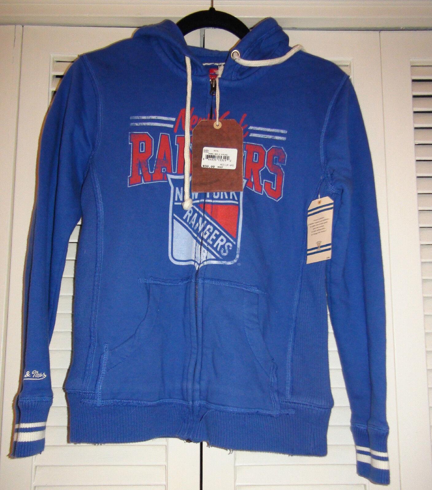 Women's Mitchell & Ness NHL New York Rangers sweatshirt hoodie Royal bluee NWT M