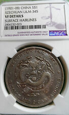 NGC VF - CHINA  1901-1908 Szechuan Dragon Silver Dollar  Silver